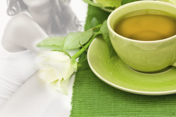 Healthy green tea cups.